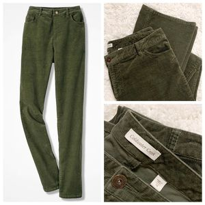 Coldwater Creek Olive stretch Corduroy Pants 16